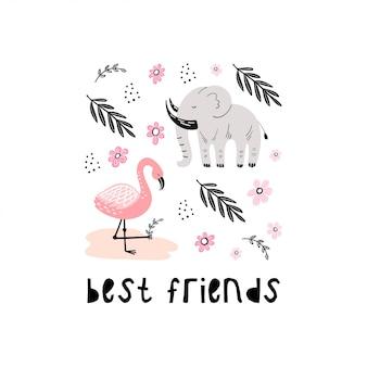 Милый мультфильм животных. элефанд и фламинго