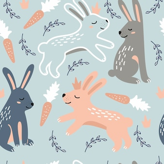 Бесшовный детский рисунок с кроликами