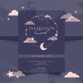 エレガントなパーティの招待状。ローズゴールド、夜、輝き。