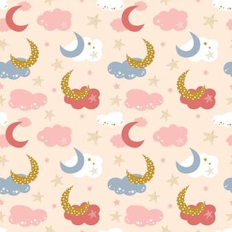 雲、星、空の月とのシームレスなパターン。
