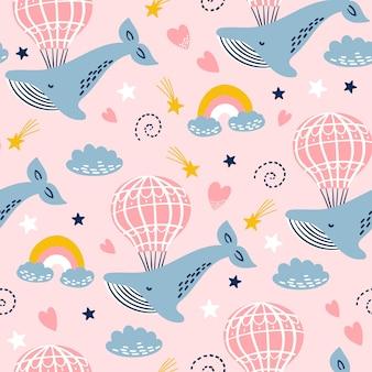 クジラ、気球、空の雲とのシームレスなパターン。