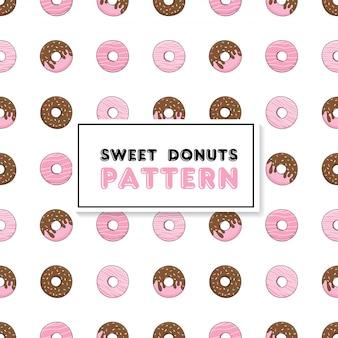 チョコレートピンクドーナツとのシームレスなパターン。