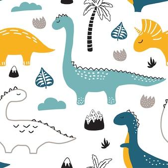 手で幼稚なシームレスパターンには、恐竜が描かれています。