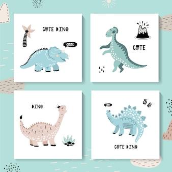 Набор детских карточек с динозаврами. милый дино.