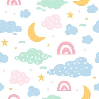 Безшовная картина с облаком, радугой, звездами, луной в небе.