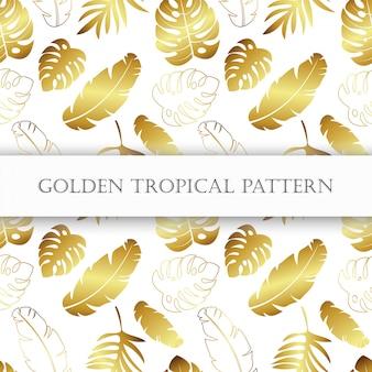 黄金の熱帯のシームレスパターン。