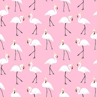 ピンクのフラミンゴとかわいいパターン。