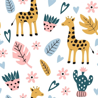 Бесшовный детский фон с жирафом.