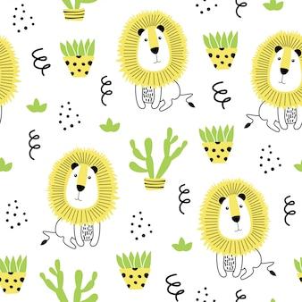 ライオンと手描きの要素とのシームレスなパターン。