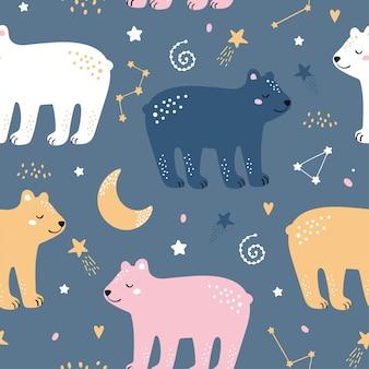 Детски бесшовный паттерн с милый медведь, звезды, луна в скандинавском стиле.