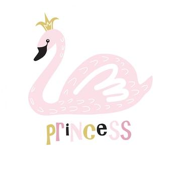 Симпатичные принцесса лебедь принт.
