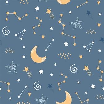 Симпатичные бесшовные ночной узор со звездами и луной
