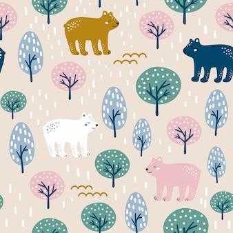 Бесшовный лесной узор с милым медведем