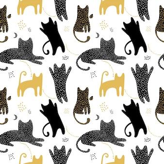 猫の影とかわいいのシームレスパターン。