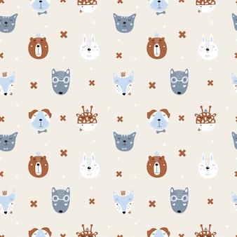 北欧の動物とかわいいシームレスパターン。フォックス、ウサギ、オオカミ、クマ、ライオン、キリン、犬、猫。