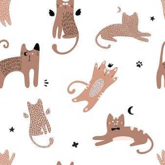 赤猫とかわいいのシームレスパターン。