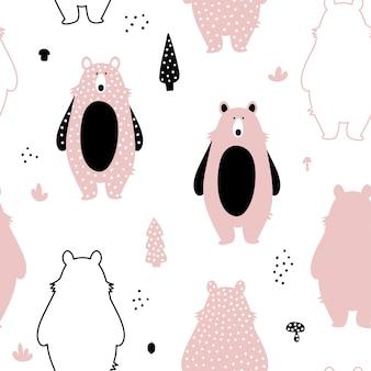かわいいピンクのクマとのシームレスなパターン。