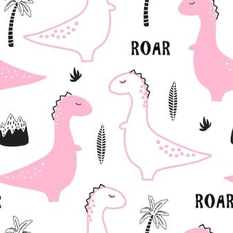 手でシームレスパターンには、ピンクの恐竜が描かれています。
