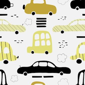 かわいい黄色の車とのシームレスなパターン。