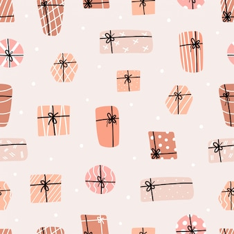 プレゼントボックスのシームレスパターン。