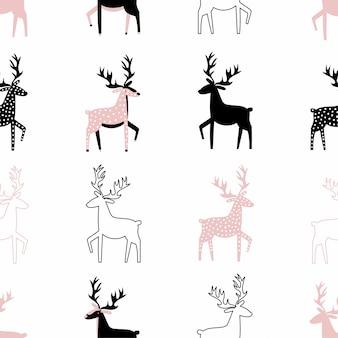 鹿とかわいいのシームレスパターン