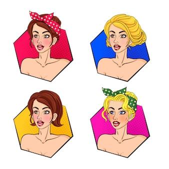 レトロな女性の髪と顔のポップアートコレクション