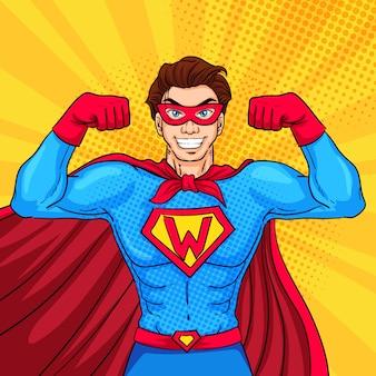 Супергерой персонаж в стиле поп-арт