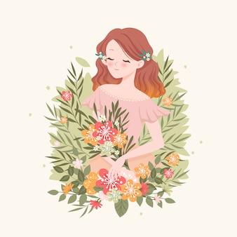 春の花の女性の肖像画イラスト