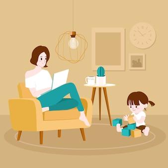 自宅で働く母と子