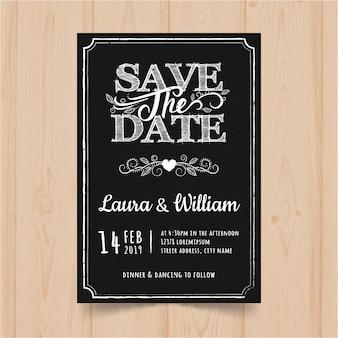 ビンテージ黒板結婚式招待状カードのテンプレート
