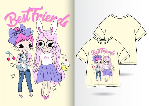 Нарисованные от руки милые девушки с футболкой