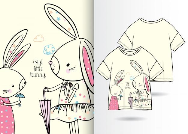 手描きかわいいウサギ