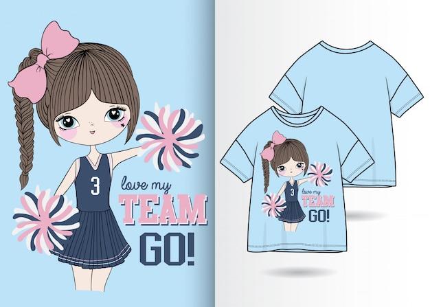 Нарисованная рукой милая иллюстрация девушки с дизайном футболки
