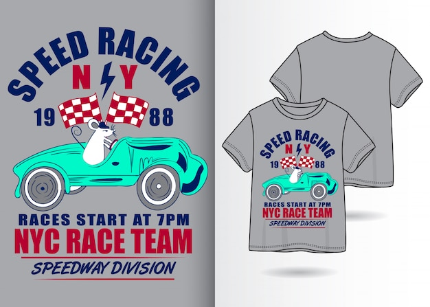 Нарисованная рукой милая иллюстрация гоночного автомобиля с дизайном футболки