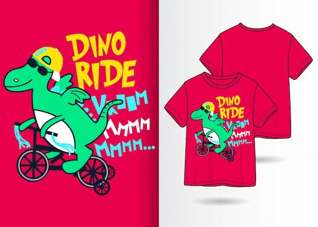 Нарисованная рукой милая иллюстрация динозавра с дизайном футболки