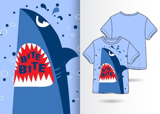 Нарисованная рукой милая иллюстрация акулы с дизайном футболки
