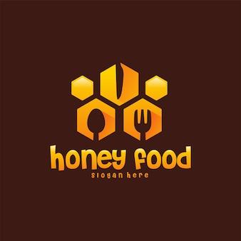 蜂蜜食品ロゴデザイン概念ベクトル