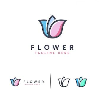 かわいいモダンフラワーのロゴ