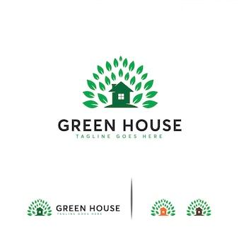 Шаблон логотипа зеленый дом