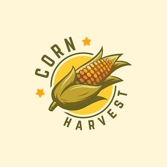 クールバッジトウモロコシ収穫ロゴ、トウモロコシロゴ、農業