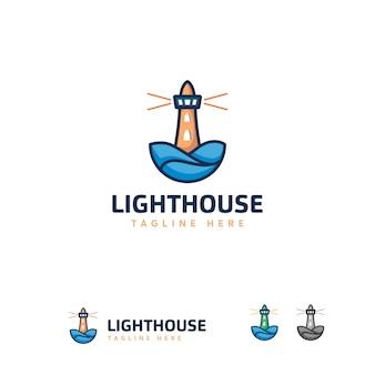 ユニークな灯台ロゴデザイン、ラインアートロゴデザイン