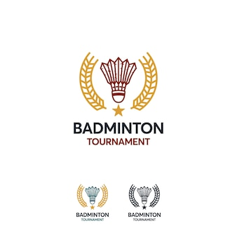 バドミントンスポーツのロゴデザインテンプレート