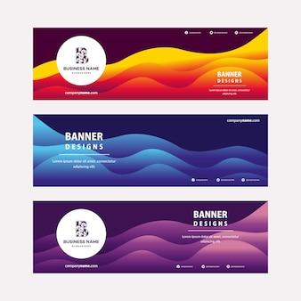 Современный шаблон веб-баннеров с диагональными элементами для фото