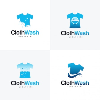 ランドリーのロゴデザイン、布洗いのロゴのコンセプトテンプレートのセット