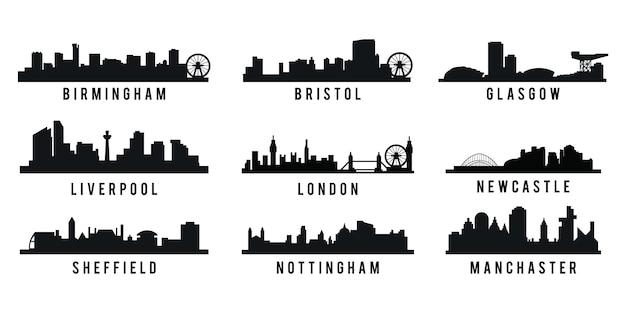 イギリスの大都市のスカイラインシルエットのセット