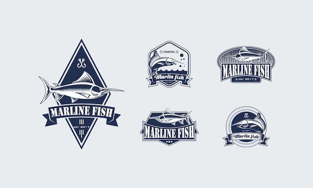 ヴィンテージフィッシングロゴデザインのセット