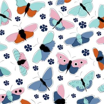手描きの蝶のパターン