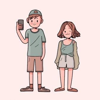 手描きの女の子とかわいい男の子
