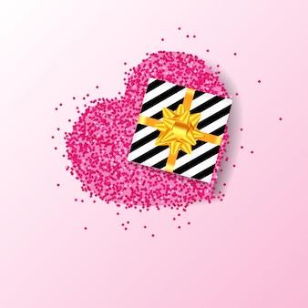 ピンクのキラキラハートのギフトボックス