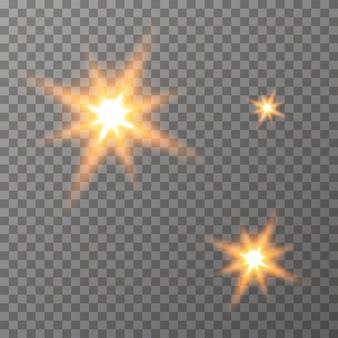輝く光の透明な背景のベクトル星